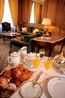 France, Paris (75), Le Bristol Hotel in the rue du Faubourg Saint-Honore breakfast served in a suite