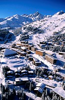 France, Savoie (73), Trois Vallees ski area, Courchevel 1850 ski resort, aerial view