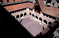 Portugal, Guimaraes, the Dukes of Braganca´s Palace, courtyard seen from the roof