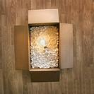 Illuminated lightbulb in box of foam, overhead view