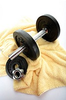Dumbbell on towel, elevated view