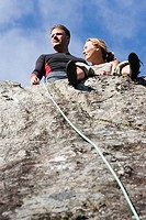 Rock climbing couple