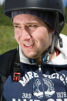 Young man wearing a helmet