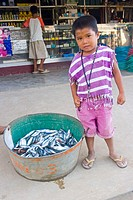 Boy Selling fish, El Nido, Palawan Island, Philippines
