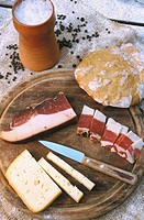 italy, alto adige, speck and cheese