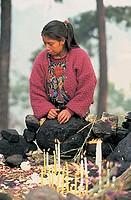 guatemala, quiché province, chichicastenango, pascal abaj, maya ritual
