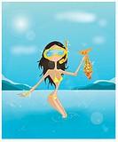 Woman having caught a fish scuba diving
