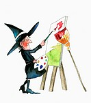 Witch painting canvas on easel