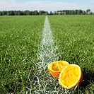 Eaten Oranges Lying on a Soccer Field