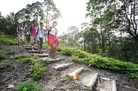 Hikers Walking Down a Path