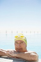 Middle-Aged Man Swimming