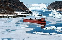 Abandoned fishing boats in ship cemetery near Ilulissat, Greenland