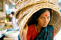 A woman working inside the market in Gulbarga, a little town in norther Karnataka