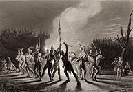 Washington and Fairfax at a war dance 1748     George Washington 1732-1799   First President of the United States  Thomas Fairfax 1692-1781 6th Lord F...