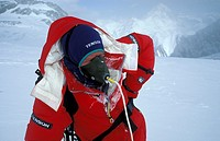 Dutch climber Edmond Ofner breathing in his mask  using artificial oxygen  taken in a special bottle in his rucksack. Photo taken at the South Col of ...