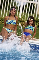 Young girls in pool