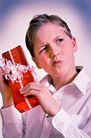 Boy opening gift