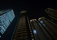 Skycrapers at night, low angle view