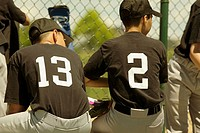 Rear view of two baseball players sitting on a bench