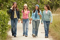 Girl walking with her friends