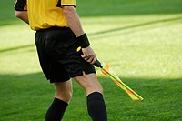 Mid section view of a referee holding a flag