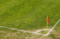 High angle view of a flag on a soccer field