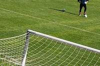 High angle view of soccer field and a goalie with a soccer ball