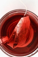 Close-up of a teabag in a tea cup
