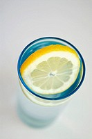Close-up of a lemon slice in a glass