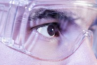 Close-up of a person wearing protective eyewear