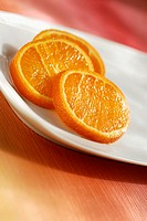 Close-up of slices of orange in a plate