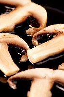 High angle view of sliced mushrooms