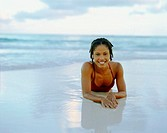 Portrait of a young woman smiling on the beach, Bermuda