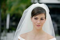 Close-up of a young bride looking away