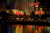 Buildings on waterfront lit up at night, Las Vegas, Nevada, USA