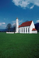 Field in front if a church, Bavaria Country Church, Saint Coleman's Church, Schwangau, Germany