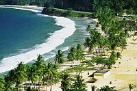 Scenic view of Maracas Beach on a sunny day, Trinidad, Caribbean