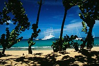 Boats are sailing on a calm sea, The Grenadines