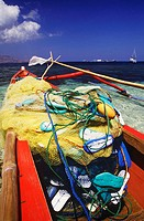 Close-up of a fishing net and ropes on a boat, Bali, Indonesia