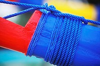 Close-up of a rope tied to a boat, Bali, Indonesia