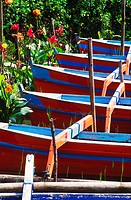 High angle view of rowboats, Bali, Indonesia