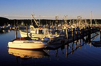 Boats moored at the dock, Cape Cod, Massachusetts, USA
