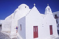 Facade of a church, Santorini, Cyclades Islands, Greece