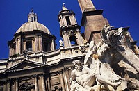 Statue in front of a building, Rome, Italy