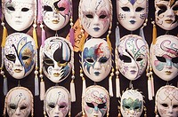 Close-up of masquerade masks, Venice, Veneto, Italy