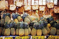 Close-up of pineapples in a market stall, Hawaii, USA