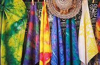 Close-up of sarongs hanging at a market stall, Hawaii, USA