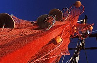 Low angle view of a commercial fishing net