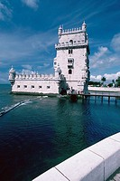Tower in a river, Belem Tower, Lisbon, Portugal