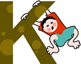 A kid with the letter K